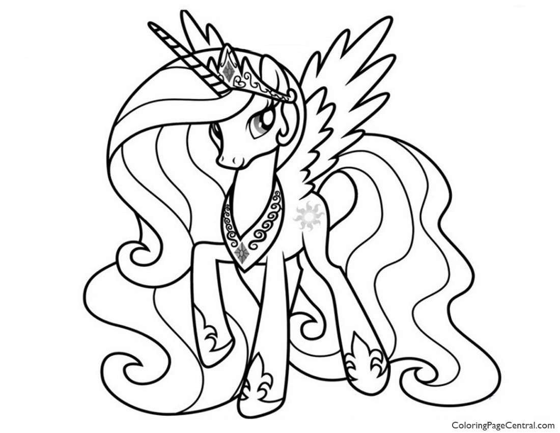 My Little Pony Princess Celestia 02 Coloring Page on my little pony princess nightmare moon coloring