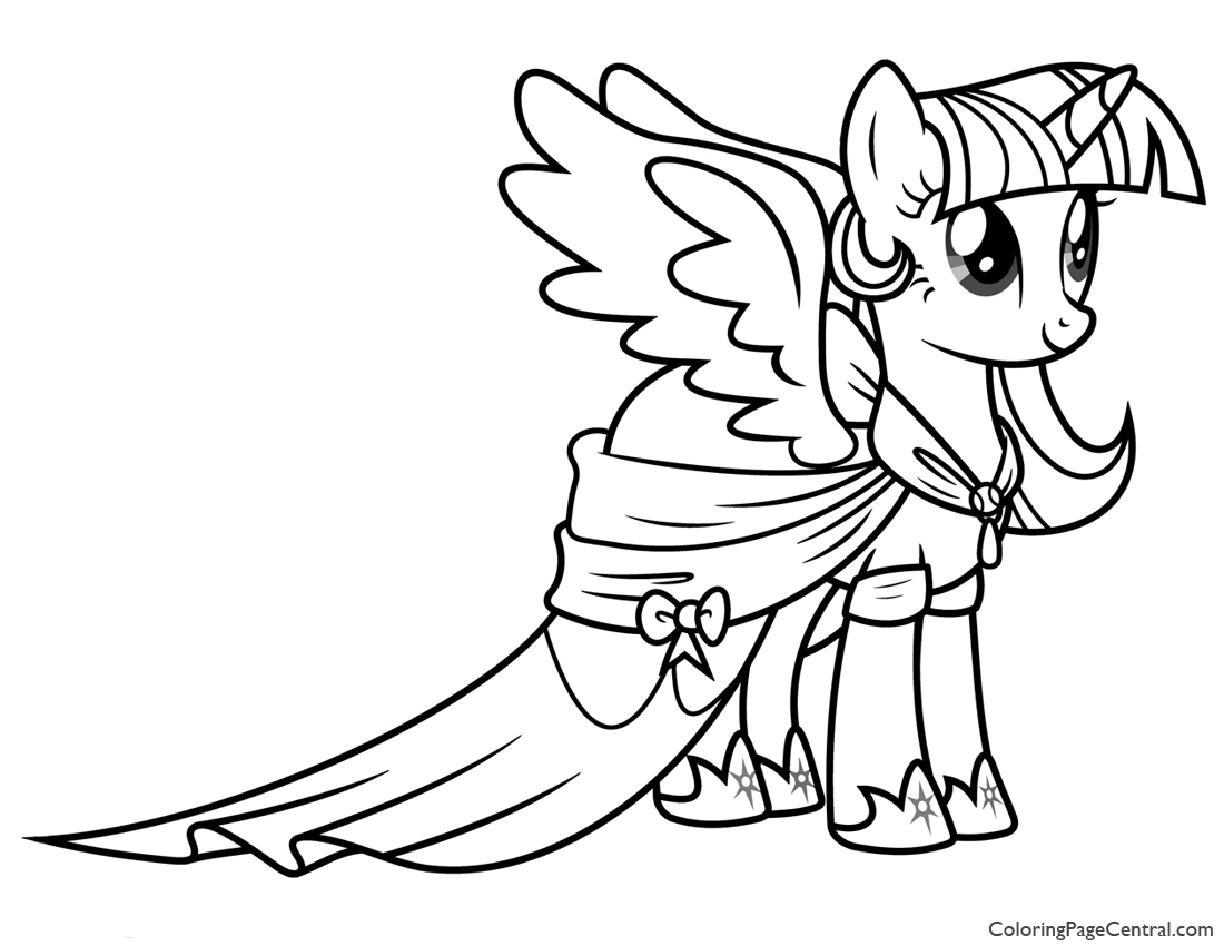 My little pony coloring pages for kids free - My Little Pony Princess Twilight Sparkle 02 Coloring Page