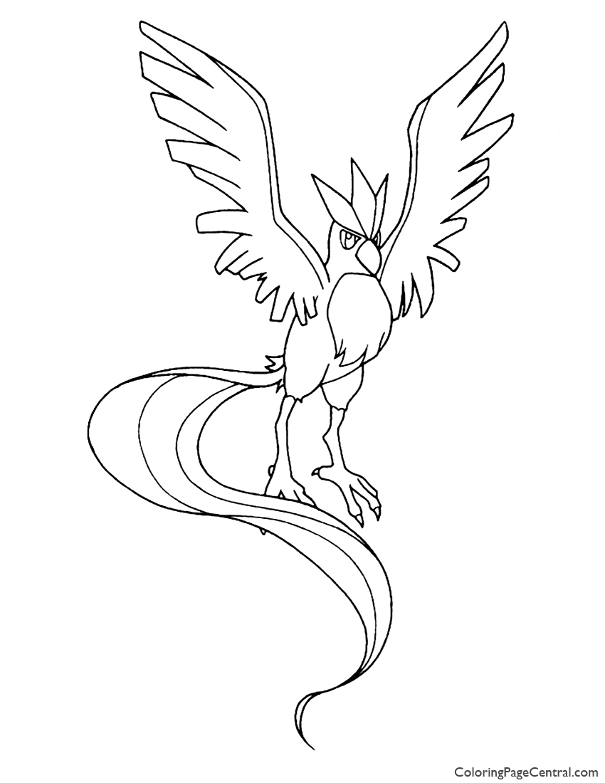 Pokemon Articuno Coloring Page 01 Coloring Page Central