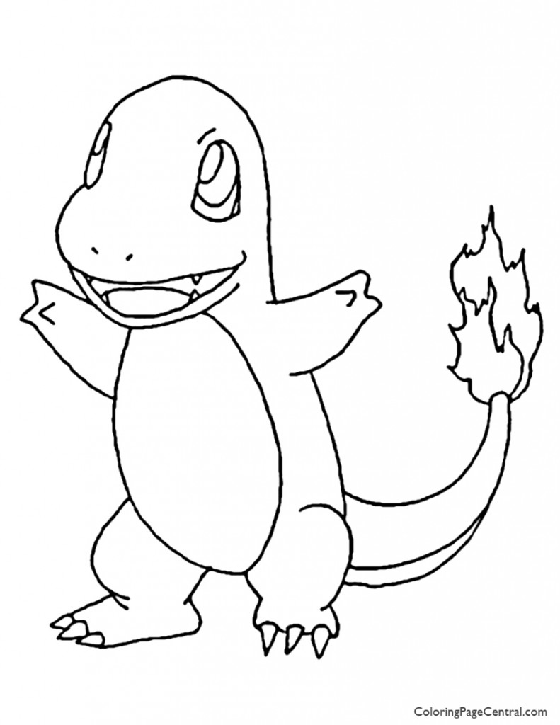 Pokemon – Charmander Coloring Page 01 | Coloring Page Central