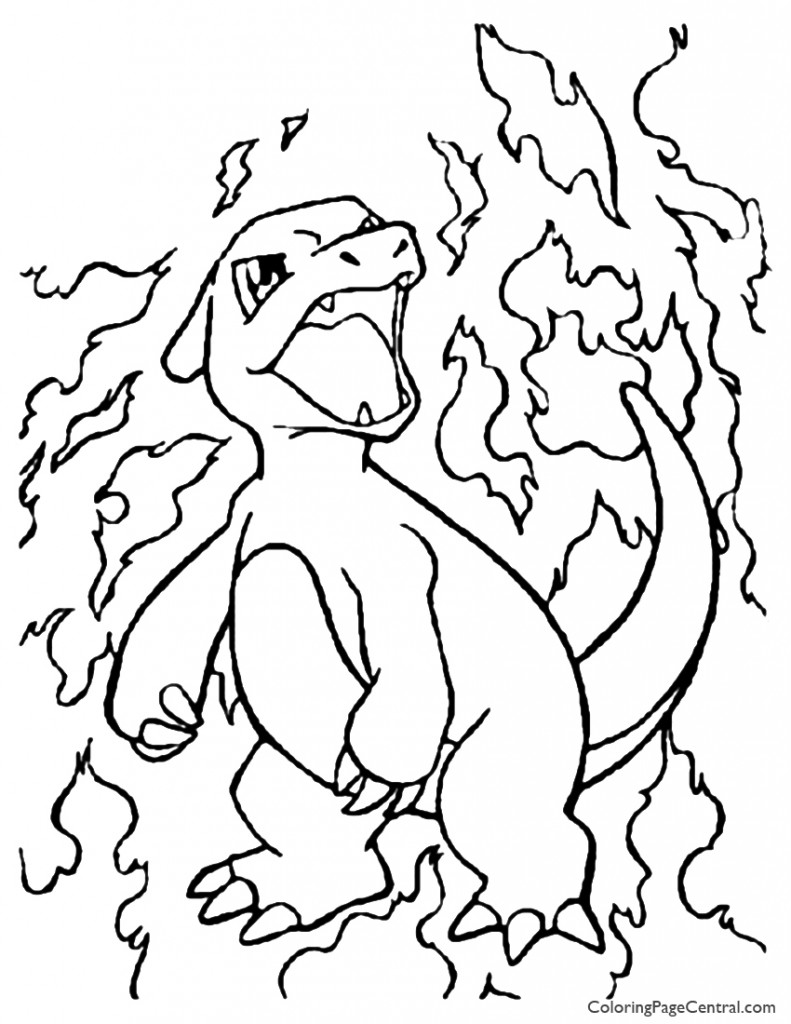 Pokemon – Charmeleon Coloring Page 01 | Coloring Page Central