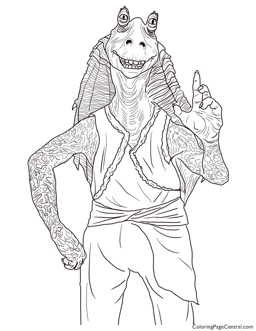 Star Wars Jar Jar Binks Coloring Page Coloring Page