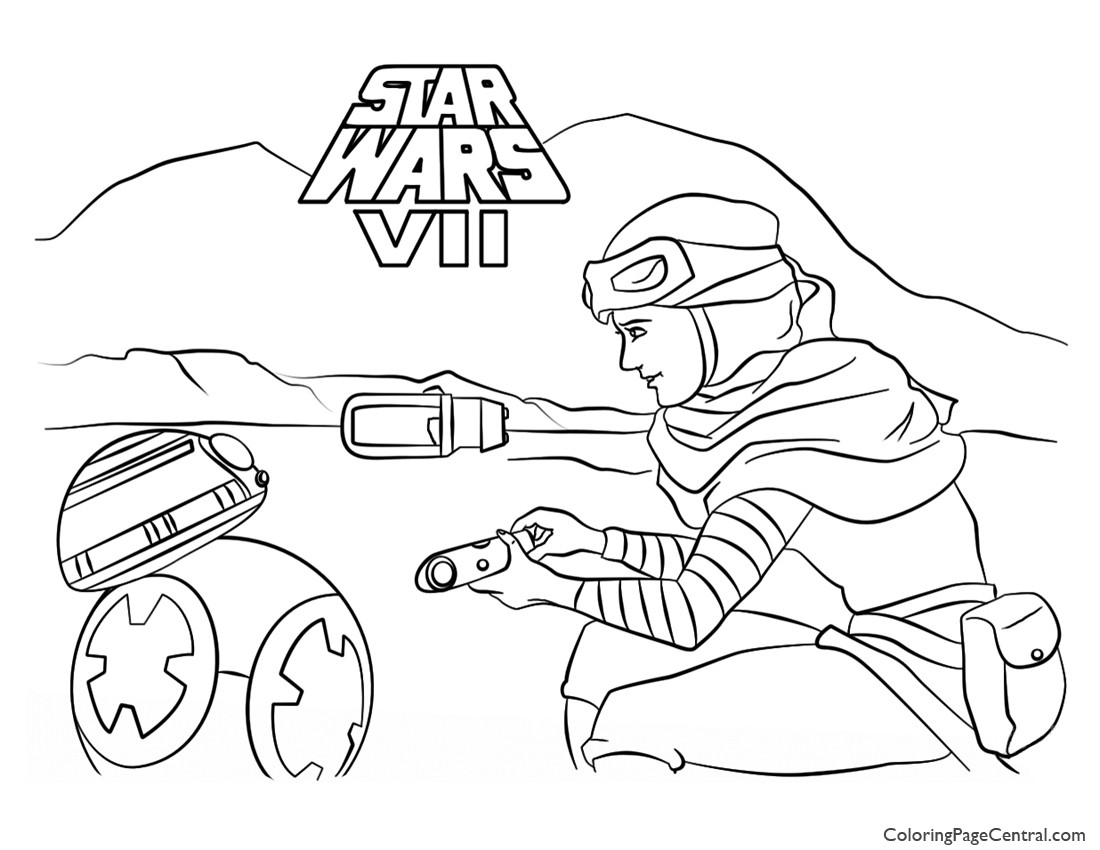 Star Wars Rey and BB8 Coloring Page Coloring Page Central