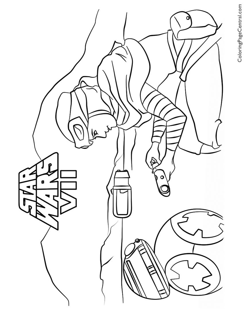 Star Wars Rey And BB 8 Coloring Page