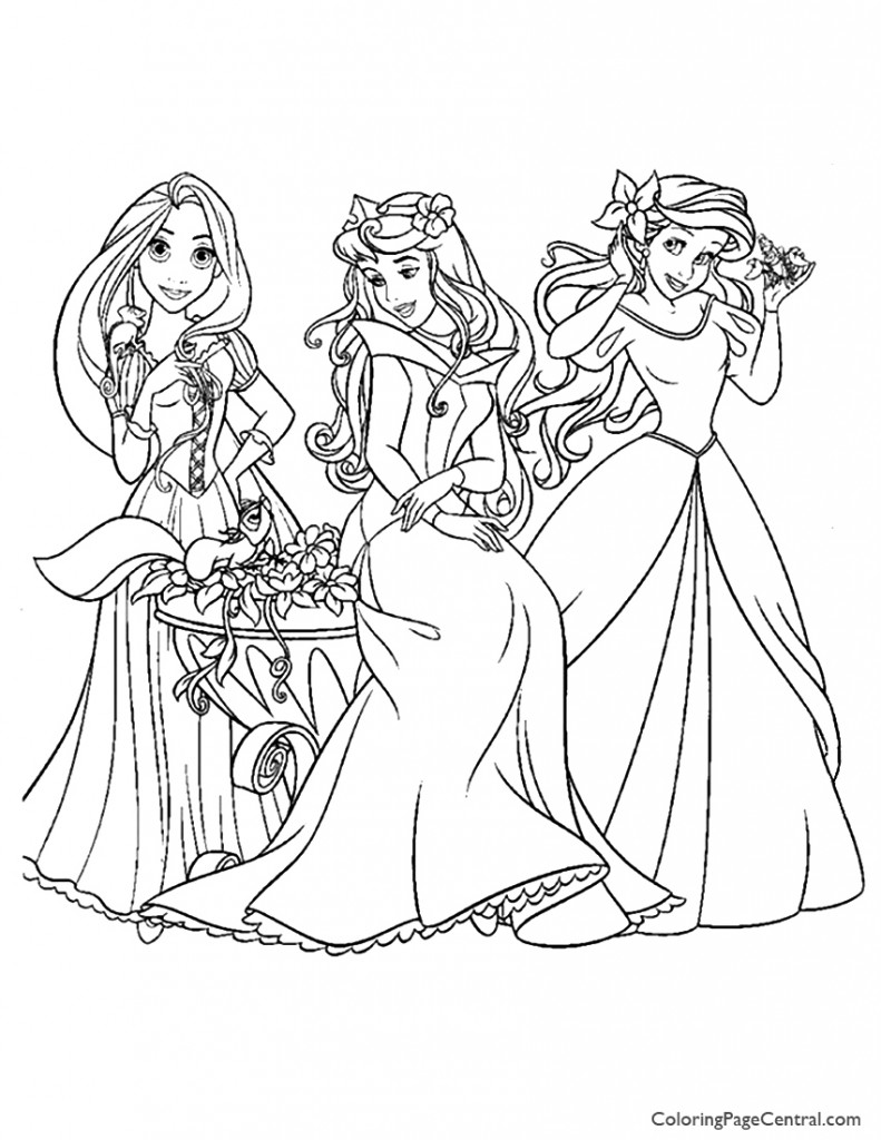 Disney Princesses 10 Coloring Page Coloring Page Central Disney Princess Coloring Pages For Free Coloring Sheets