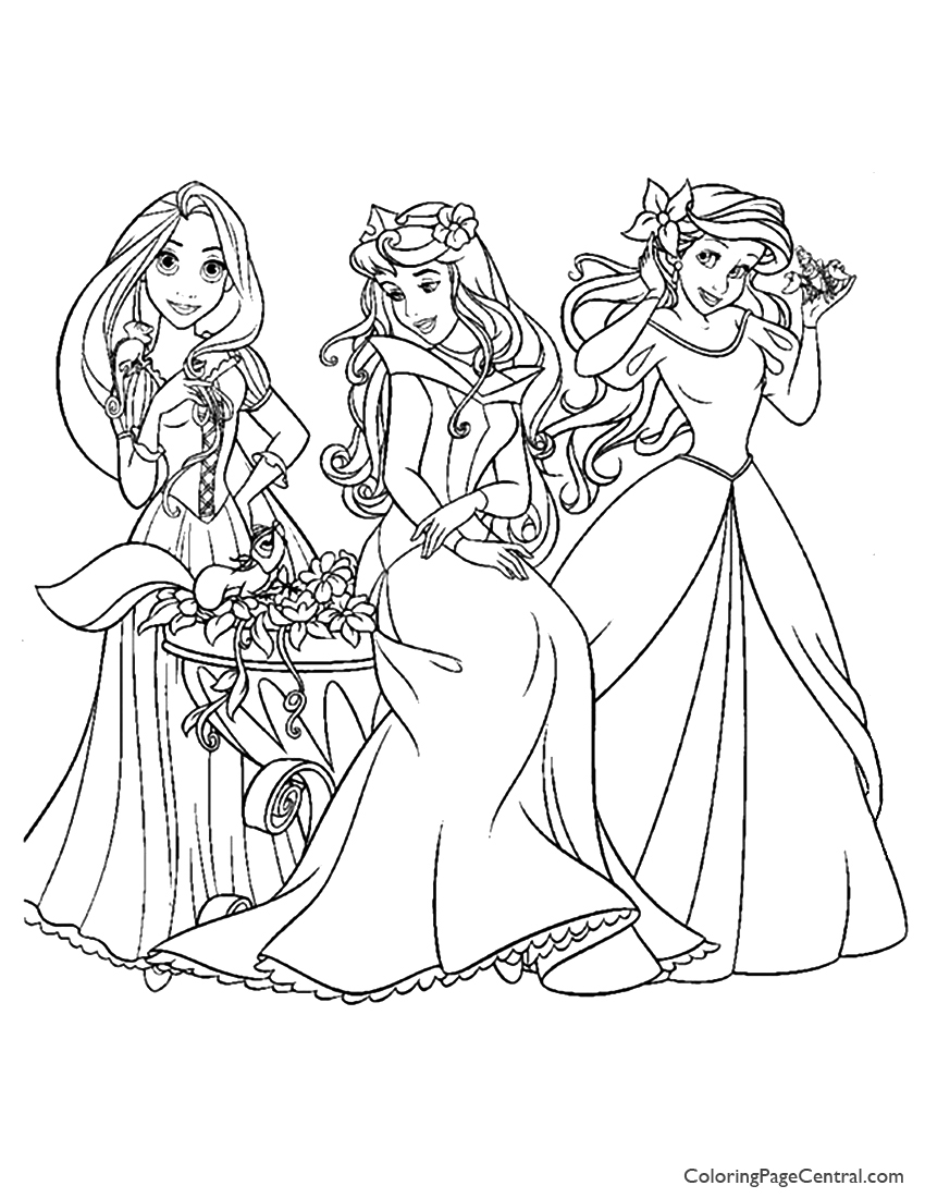 Disney princess black and white coloring pages - Disney Princesses 10 Coloring Page