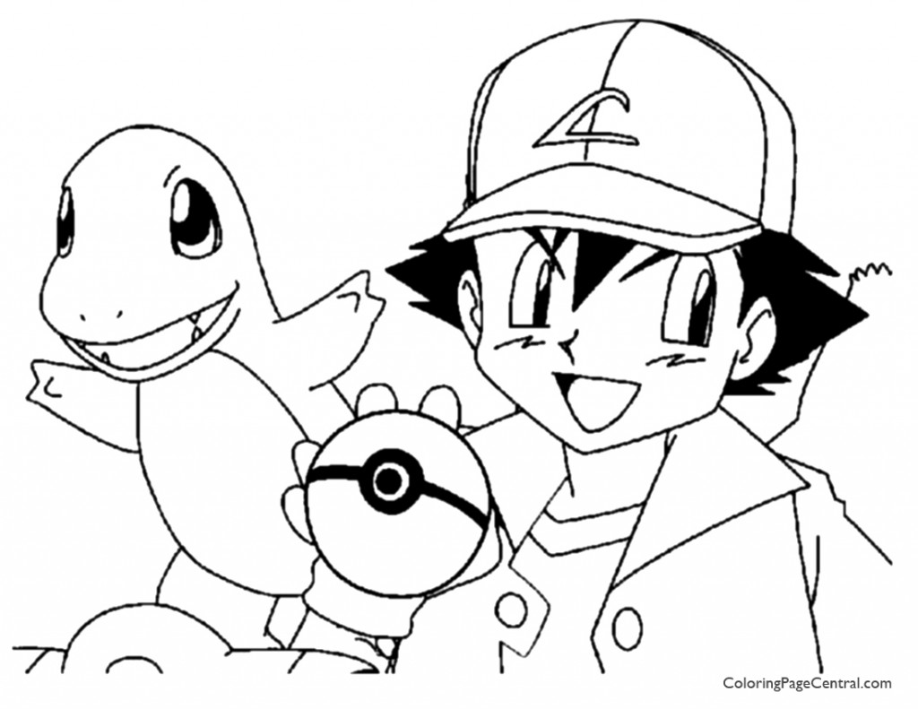 pokemon ash coloring page 01 - Pokeman Coloring Pages