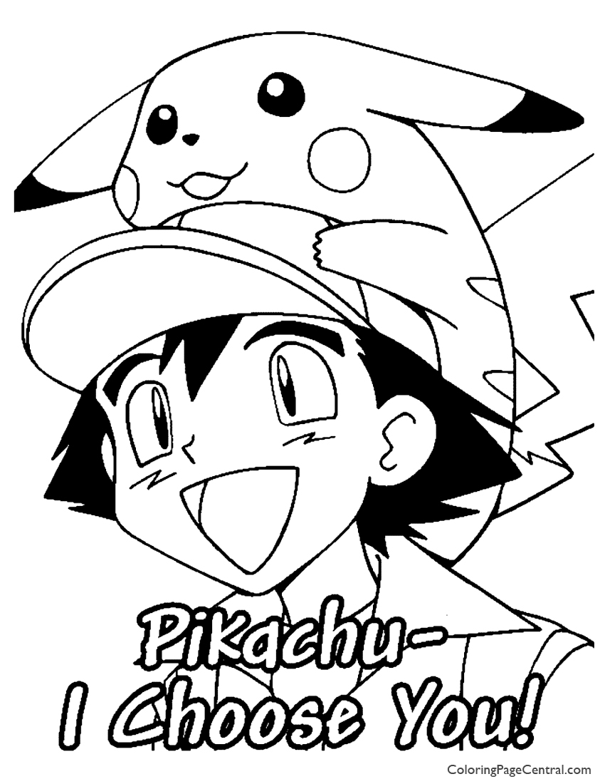 Pokemon   Ash Coloring Page 02