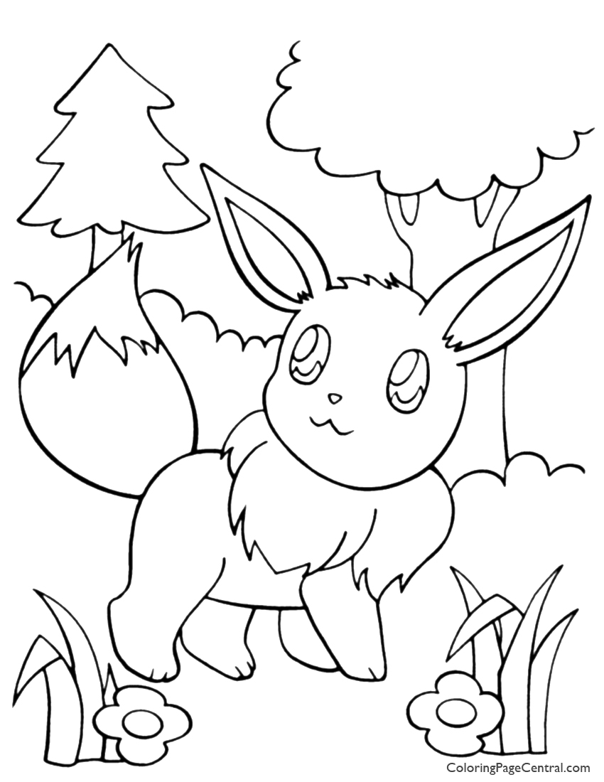 Pokemon – Eevee Coloring Page 01 | Coloring Page Central
