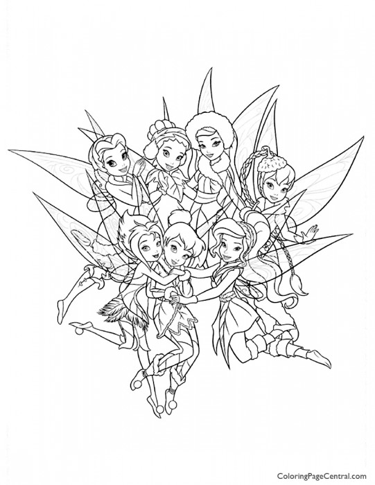 Tinkerbell and Friends 01 Coloring Page
