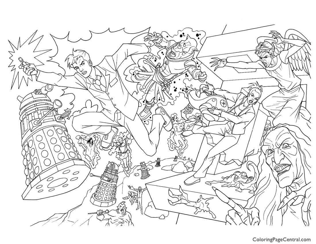 Doctor who 01 coloring page coloring page central for Dr who coloring pages