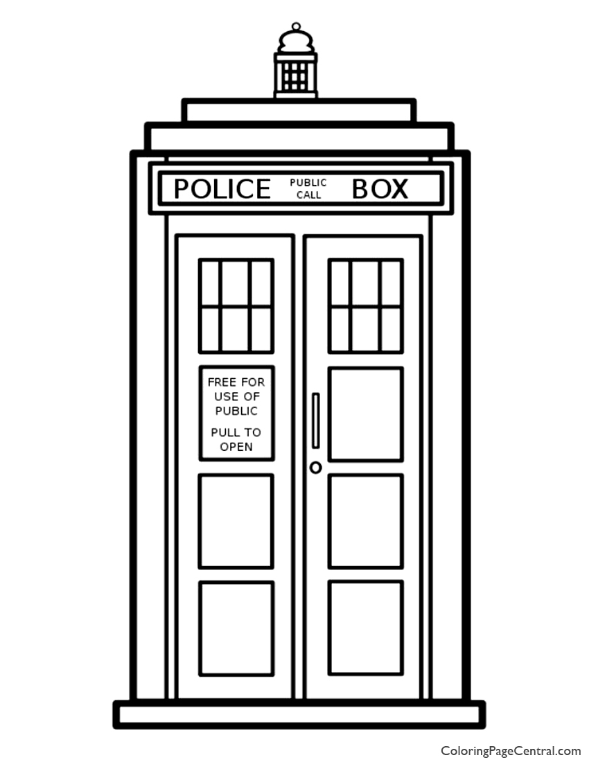 doctor who tardis coloring page
